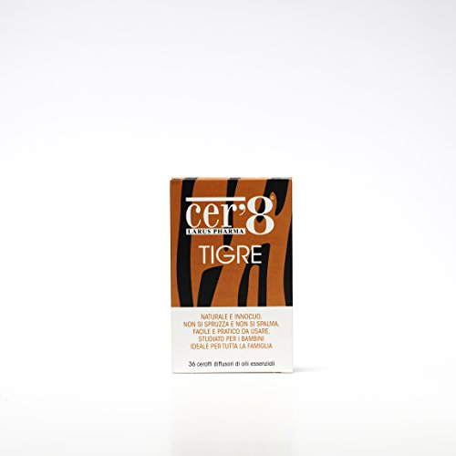 Cer'8 tigre - cerotti diffusori di oli essenziali puri micro incapsulati di eucalyptus citriodora, lemongrass e tea tree - 6 confezioni da 35 g