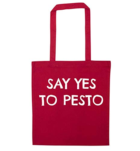 Flox Creative Red Tote Bag Say Yes to Pesto