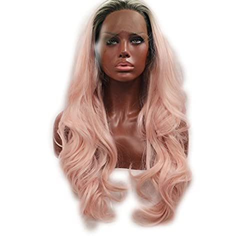 SHKY Black to Pink 2 t ombre Body Wave Synthetic Lace Front Perücke Rosa Welle Hitze resistente Faser Haare mit dunklen Wurzeln für die Frau , 24