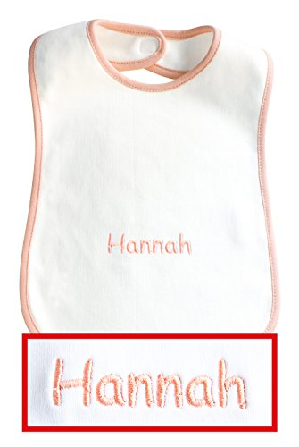 Baby-Lätzchen mit Wunsch-Name in rosa eingestickt, Lätzchen weiß/rosa, hochwertige Stickerei; Mitteilung des Wunsch-Namen siehe Produktbeschreibung