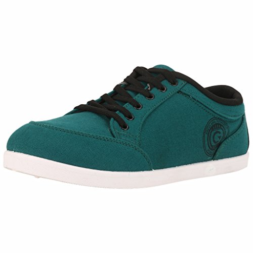 Globalite Men's Teal Black PU canvas shoes -UK 9 (GSC0432)  available at amazon for Rs.299