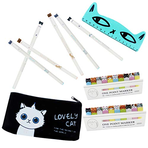 Bolígrafos de gato para chidren, 6 bolígrafos de gel de 0,5 mm con 2 notas adhesivas, regla lineal, y estuches para lápices para niños y niñas