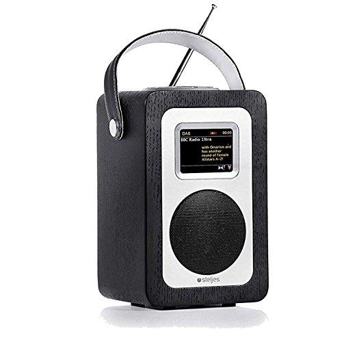 Steljes Radio Internetradio Digital Retro mit Bluetooth Lautsprecher DAB, DAB+, FM Radio, Spotify, Netzwerkplayer, Wecker, Wireless Portable Tragbar App Steuerung, 10 Stunden Spielzeit SA60 Schwarz Portable Video-sender