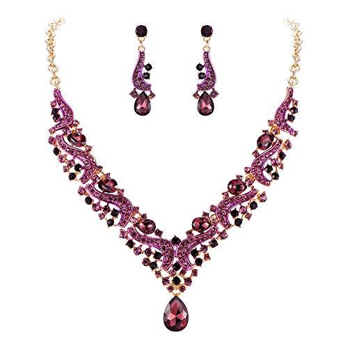 muckset österreichischen Kristall Braut Hochzeit Floral Wave Teardrop Halskette Ohrringe Set Lila Gold-Ton ()