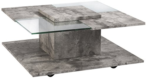 Homexperts Couchtisch DJANGO / Quadratischer kleiner Wohnzimmer-Tisch auf vier Rollen / Beistelltisch in moderner Beton-Optik mit Glas-Elementen / 80x37,5x80 cm (BxHxT)