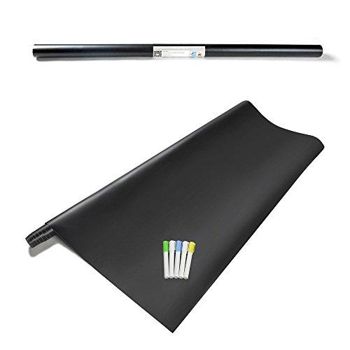 FANCY-FIX Schwarze Tafefolie | Blackboard-Sticker | selbstklebend, leicht abwischbar | Vinylrolle | 107x200cm