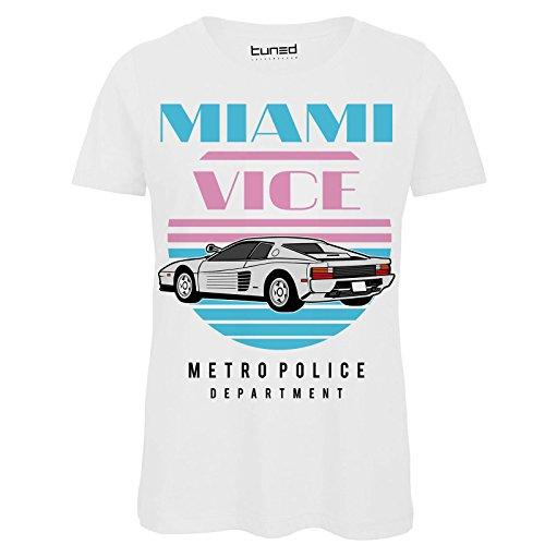 CHEMAGLIETTE! T-Shirt Divertente Donna Maglietta con Stampa Vintage Anni 80 Miami Vice Tuned Bianco