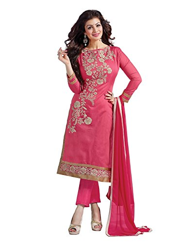Rensil Women\'s Cotton Dress Material (Rie-Ees-1009_Pink_Free Size)
