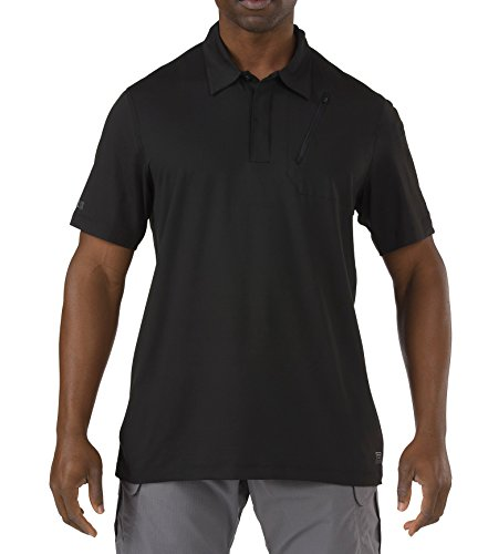 5.11 Hommes Odyssey Polo Manches Courtes Noir Taille L