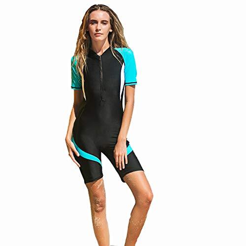 AIni Damen Neoprenanzug,Sexy Sport Neoprenanzug Stretch Tauchen Anzug Schnorcheln Badeanzug Surfen Overall Wetsuit Schwimmen Surfanzug Surfen Tauchen (XXL,Blau)