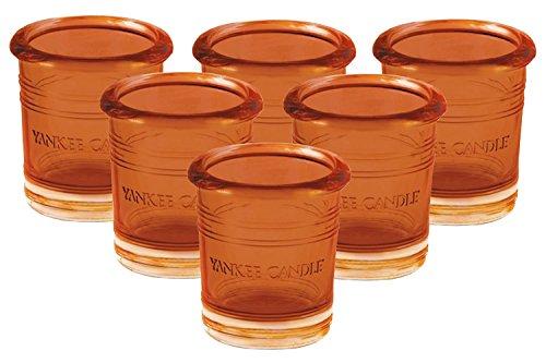 unt Massive Glas Votiv Kerzenhalter Sechs Pack für Votivkerzen/Teelichter klein 7cm/7,1cm Vintage Bucket Stil Dekoratives und kleine Kerze-Container für Kamine und Tische, glas, Orange, SIX Orange Buckets ()