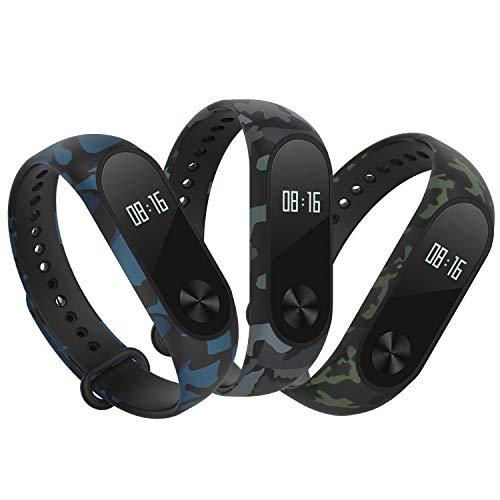 Hianjoo Bracelet Compatible pour Xiaomi Mi Band 2, [Lot de 3] Remplacement Sangle Bracelet Accessoires en Silicone de Bracelet Compatible pour Xiaomi Mi Band 2 - Camouflage: Bleu, Vert, Gris