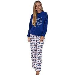 Conjunto de Pijama de Manga Larga para Mujer - Forro Polar - Estampado con Animal - Navidad - Snow Much Fun/Azul Marino - EU 40/42