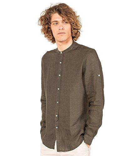 Clayton camicia in lino con collo alla coreana