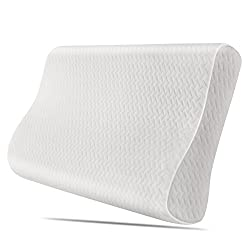Homfa- Nackenkissen Orthopädische Nackenstützkissen Kopfkissen Memory Foam Schlafkissen Pflegekissen Ergonomische Antischnarchkissen mit Waschbarem Bezug 50x30x10cm (1)