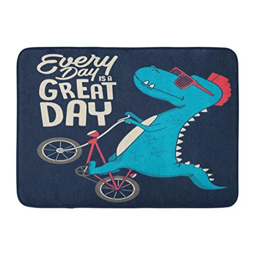 Bad Teppiche Outdoor/Indoor Fußmatte lustige süße Dinosaurier auf Fahrrad Grafik Sport Dschungel Monster City Badezimmer Dekor Teppich Badematte ()