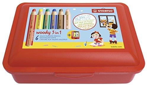 Buntstift, Wasserfarbe & Wachsmalkreide mit Aufbewahrungs-Box - STABILO woody 3 in 1 Box - 6er Pack mit Spitzer und Box - 6 Farben (Spitzer Box)