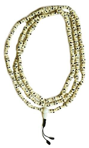 Mala mit Totenköpfen - buddhistische Gebetskette mit 12 mm lange Perlen Yak-Knochenmala