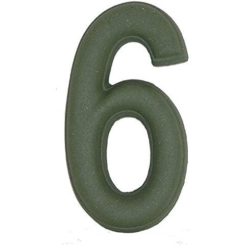 Numero Civico 6 Ceramica In Gres - Colore Verde Smeraldo Naturale cm11x6 h1,5