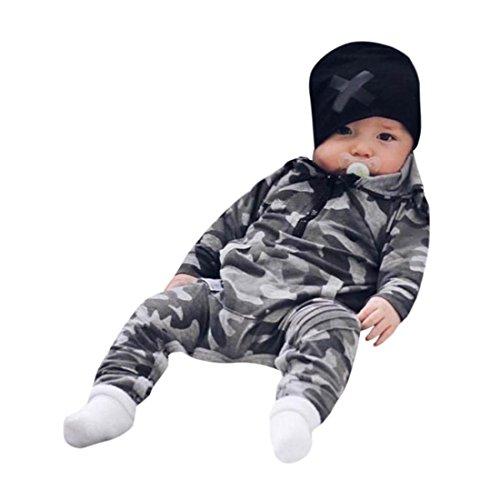 Pullover Set Kleinkind Btruely Unisex Langarm Baby Clothes Set Camouflage Spielanzug + Hosen Kappe Outfits Kinder (100, Camouflage 4) (Dots Spezielle Mischung)