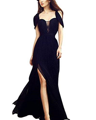 Damen Elegant Einfarbig Seite Split Kleid Chiffon Lange Abendkleider Partykleider Schwarz M (Lange Prom Kleider Mit Split)