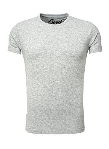 Goodflow Herren T-Shirts Slim Fit Rundhals Basic Grau