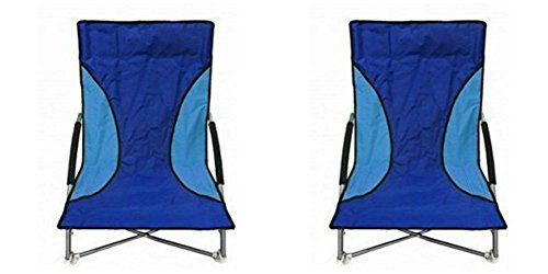 2 Blue Nalu Folding Low Seat Beach Chairs