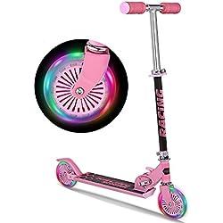 Coorun Roller Niños Dreifach höhenverstellbarer Scooter Niños PVC reflectante ruedas, blanco, negro y rosa, 64x 32x 70cm, rosa, 64 x 32 x 70cm