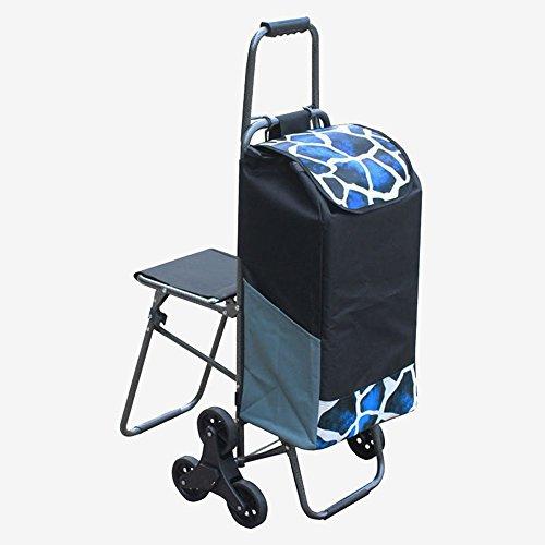 Einkaufstrolley Hand Warenkorb Warenkorb Warenkorb mit Einem Klapphocker Kleine Trailer Trolley Auto Tasche Auto Stuhl Auto (Farbe : Schwarz)