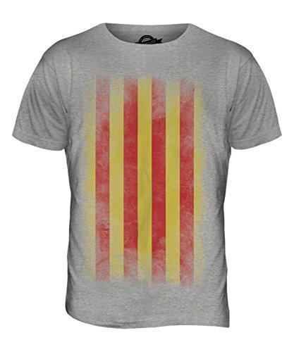 CandyMix Katalonien Verblichen Flagge Herren T Shirt Grau Meliert