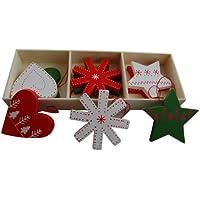 Gisela Graham - Decorazioni natalizie per albero di Natale in stile scandinavo, confezione da 9 unità