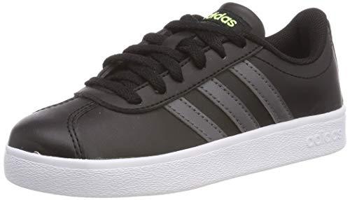 adidas VL Court 2.0 K, Scarpe da Tennis Unisex Bambini, Nero Core Black/Grey Five/Hi/RES Yellow, 40 EU