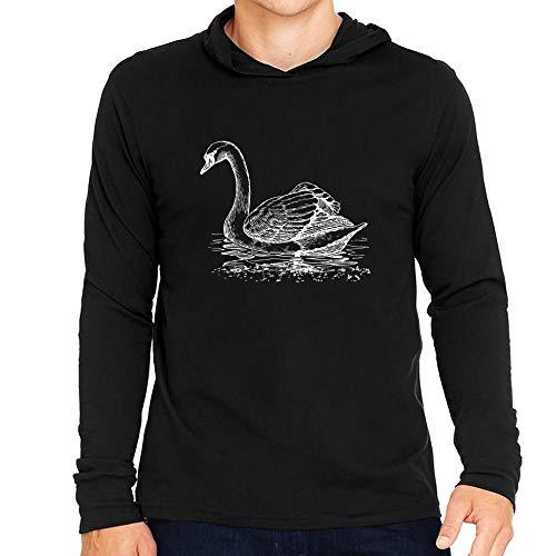 Idakoos Swan Sketch Kapuze Langarm T-Shirt M -