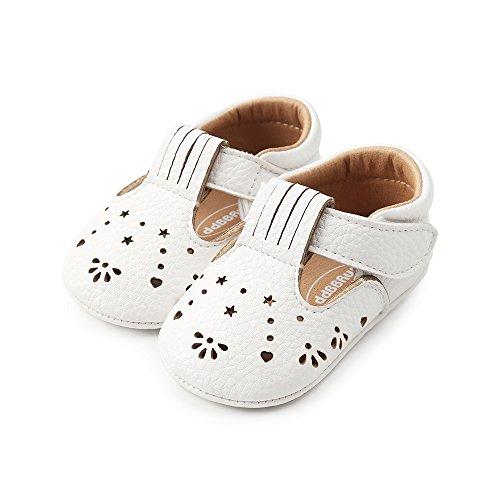 LACOFIA Baby Mädchen Ballerinas Kleinkind Rutschfeste Lauflernschuhe Weiß 12-18 Monate