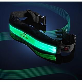 Auraglow Super Bright High Visibility Leucht-LED Reflektierende Wiederaufladbare USB Laufen Radfahren Sicherheitsgurt mit Taschen - Grün
