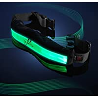 Auraglow Super Bright High Visibility Light-Up LED Reflective Rechargeable USB Running Cycling Safety Belt with Pockets