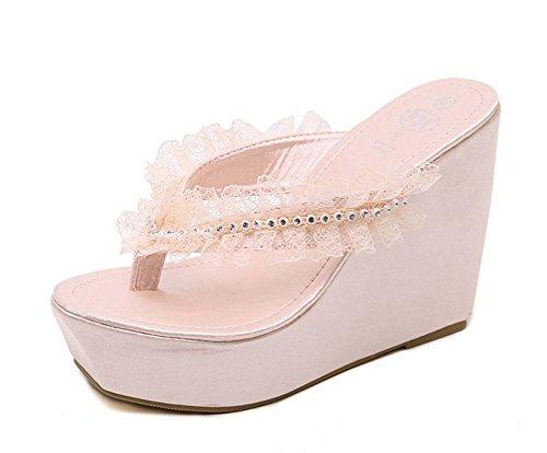 L&Y Pompes à talons ouverts à la mode Bohemian Style élégante Chaussures en dentelle en dentelle Lotus Leaf Chaussons à chevrons Sandales à talons hauts ( Couleur : Rose , taille : 35 ) Rose