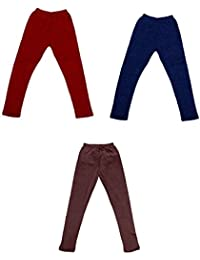 Indiweaves Kids Warm Supersoft Wollen Leggings and Premium Cotton Leggings Combo (Pack of 3)