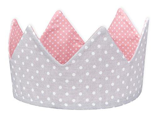 KraftKids Stoffkrone weiße Punkte auf Grau, stylische Geburtstags-Krone für Kinder mit Klettverschluss, beidseitig mit Muster verziert