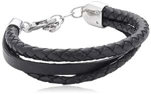Sector - SLI44 - Bandy - Bracelet Homme - Acier Inoxydable - Cuir Noir - 23 cm