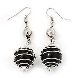 Silver Tone Black Faux Pearl Drop Earrings - 5.5cm Drop