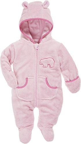 Fleece-schlafanzug (Schnizler Baby Fleece-Overall, atmungsaktiver Unisex-Jumpsuit für Jungen und Mädchen mit langem Reißverschluss und Kapuze, mit Bär-Stickung)