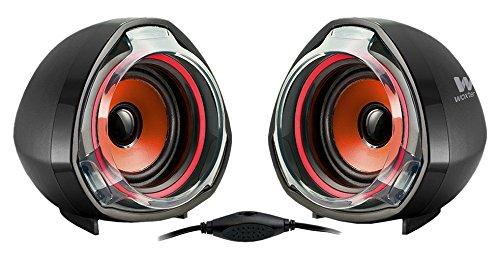 WOXTER BIG BASS  70 RED - Altavoces multimedia (2.0, potencia 15W, con terminación bicolor) color negro y rojo