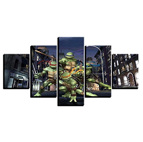 Kampf der Ninja-Schildkröte des Tintenstrahls fünf kämpfen dekoratives Anstrichhauptbedside-Hintergrundplakat