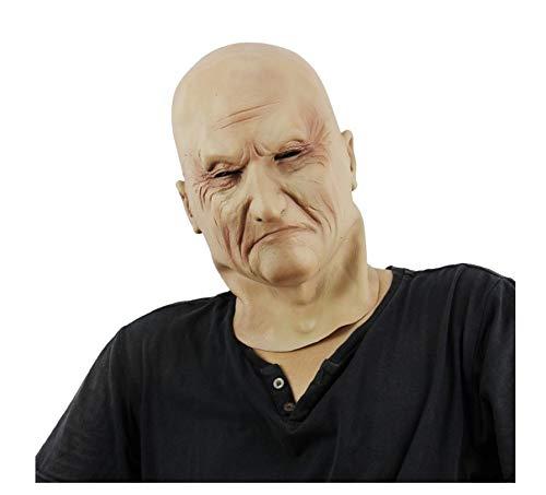 wanjuna Halloween Latex Kopf Maske Gruseliges Zombie Kostüm Cosplay Requisiten Glatzkopf Maske Neuheit - Glatzkopf Kostüm Perücke