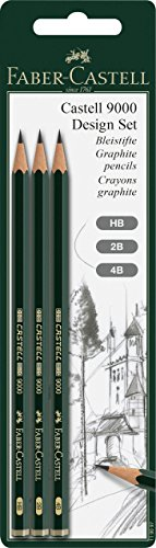 Faber-Castell 119097 - Set de 3 lápices grafito 9000, HB, 2B y 4B