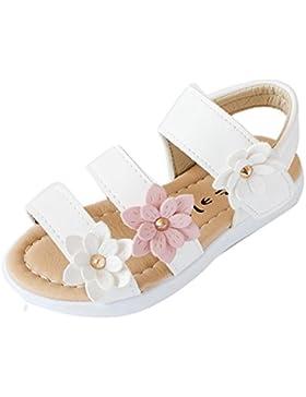 Sandalias Niñas Fossen Verano Artificial Piel Zapatos de Princesa con Flores