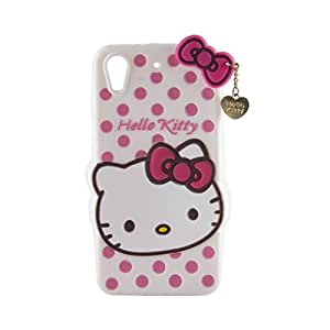 Go Crazzy HTC Desire 626 / 626s Cute Hello Kitty Soft Silicone Case, 3D Cartoon Polka Dots Hello Kitty Silicon Gel Rubber Case Cover Skin for HTC Desire 626 / 626s With free 4 in 1 USB sync data charger cable cord for all Android & ios (Multi)