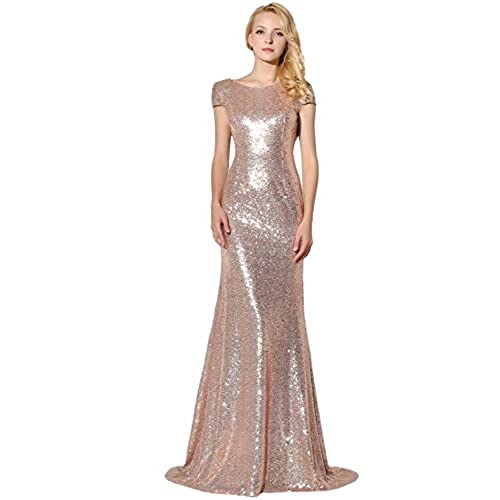 Clearbridal Women's Sequin Evening Dress Uk 8 Y-Rose Gold