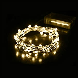 AZX LED String Light, 2M 20 Leds Copper Wire Fairy Lights Battery Operated Christmas Outdoor Lights for Christmas Party, Outdoor Patio, Wedding, Indoor Decoration White